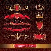 Set of royal, gold, decorative elements. — Stock Vector
