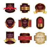 Set from nine vintage labels — Stock Vector