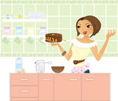 Woman in kitchen making a cake — Stock Vector