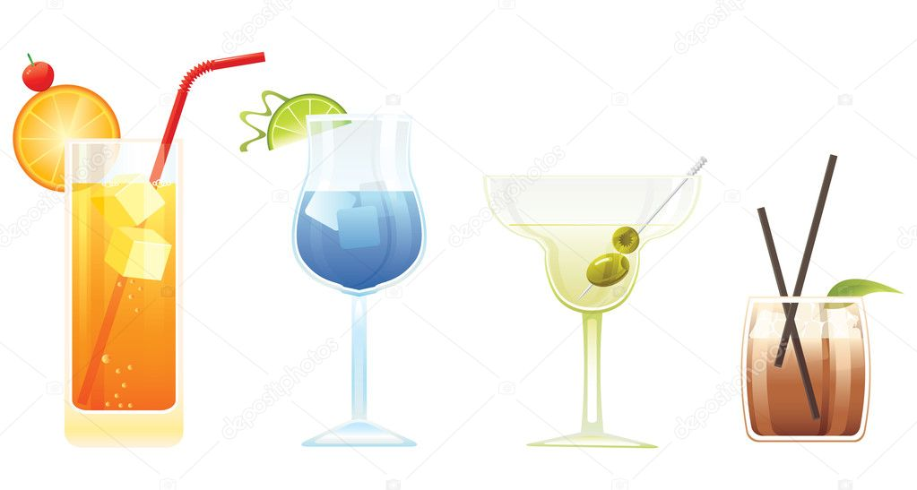 Tequila Sunrise, Blue Lagoon, Martini and El Diablo cocktails isolated on white background  — Stock Vector #5870589