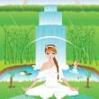 Woman practicing yoga outdoors on a rainy day — Stock Vector #6314338