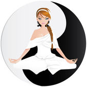Woman practicing yoga — Stock Vector