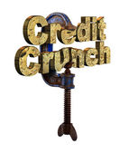Credit crunch words in a vice — Stock Photo