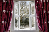 Open window with view to a snowy winter scene — Stock Photo