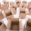 Many open cardboard boxes wide-angle view — Stock Photo