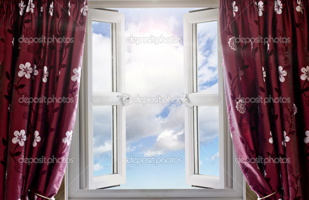 Modern window open with a view to sky and sun  Stock Photo #6180977