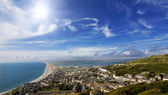 View over British seaside town and coastline — Stock Photo