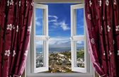 Open window with a view to the world — Stock Photo