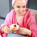 Woman drinks tea — Stock Photo #5534326