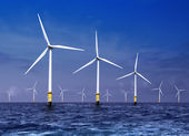 Wind turbines on sea — Foto de Stock