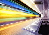 Speed train in subway — Stock Photo