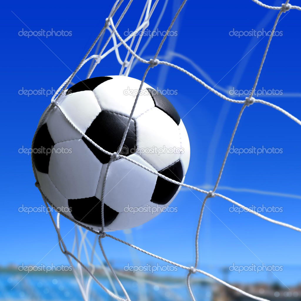 Leather soccer ball flies into the net gate   Stockfoto #5691284