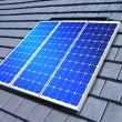 Solar-cell array on roof - Stockfoto