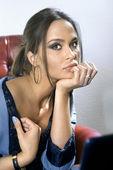 Düşünceli kadının yüzü — Stok fotoğraf
