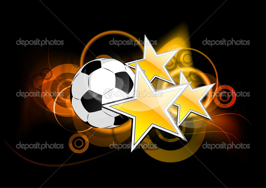 Football with stars on the background — Stock Vector #5445105