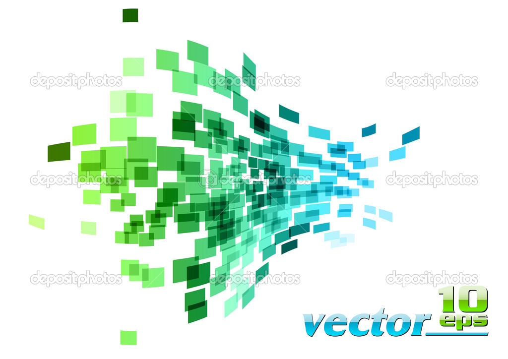Green and blue wave square — Stock Vector #5544478