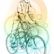 Stock Vector: Girl bicycle