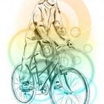 Girl bicycle — Stock Vector