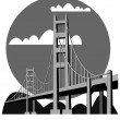 Stock Vector: Golden Gate Bridge - vector