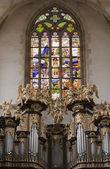 Saint Barbara church - Organ Loft - stained glass — Stock Photo