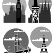 Famous cities and places - vector — Stock Vector