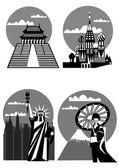 Various famous landmarks - vector — Stock Vector