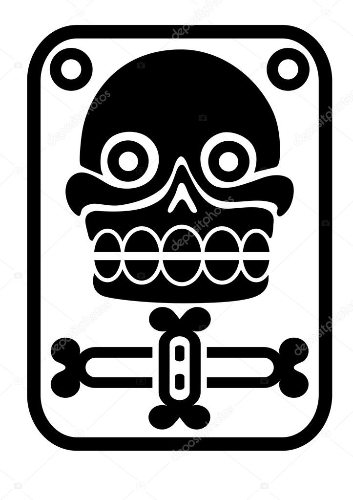 Illustration of the Aztec stamp with skull - vector — Stock Vector #5846438