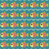 Seamless wallpaper with fishes — Stock Vector