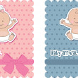Vector de stock : Baby arrival cards