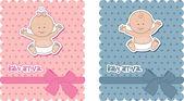 Tarjetas de llegada de bebé — Vector de stock