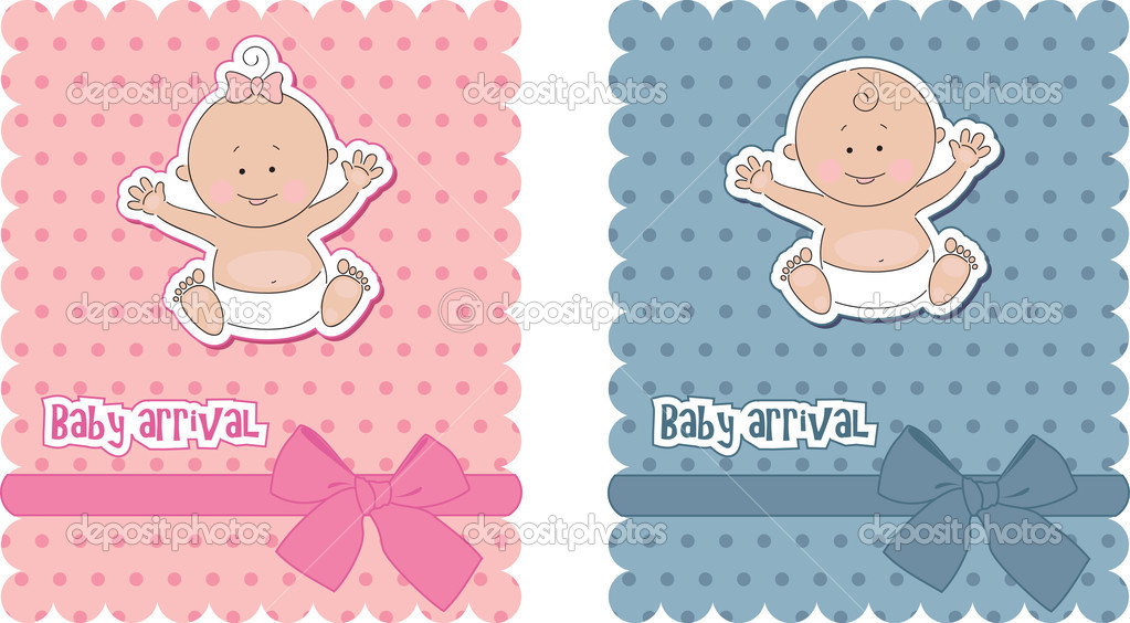 Baby arrival cards. Boy and girl — Stock Vector #5858015