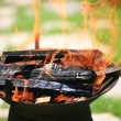 Stock Photo: Grill flame,