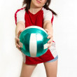 Female volley ball fan — Stock Photo