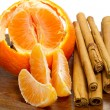 Orange with cinnamon sticks — Stock Photo