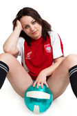 Sexy Soccer female fan — Stock Photo