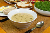 Traditional easter white borsch soup — Stock Photo