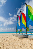 Catamarans on the Caribbean beach — Stock Photo