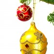 Baubles on Christmas tree — Stock Photo #6398222