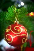 Bauble on Christmas tree — Stock Photo