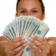 Woman holding money — Stock Photo #6403258