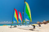 Colorful sail catamarans — Stock Photo