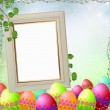 Spring or Easter frame  with Colorful easter eggs — Stock Photo