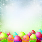 Spring or Easter background with Colorful easter eggs — Stock Photo