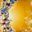 Grunge beautiful colored abstraction with butterfly and ornate — Stock Photo