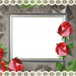 Silver frame on old paper background and roses — 图库照片