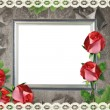 Silver frame on old paper background and roses — Stock fotografie