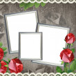 Three silver frames on old paper background — Stock Photo #5456136