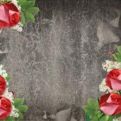 Vintage karta z księgi starego i róża na streszczenie tło — Zdjęcie stockowe