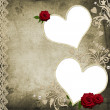 Textured grunge background with hearts, rose and lace - Stock Photo