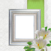 2 silver frames and white Lilies on white background (1 of set) — Foto de Stock